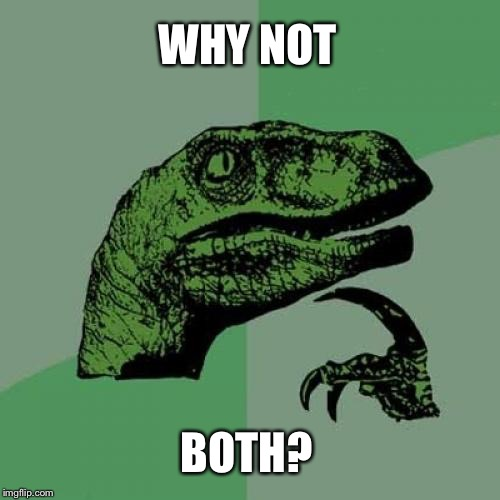 Philosoraptor Meme | WHY NOT BOTH? | image tagged in memes,philosoraptor | made w/ Imgflip meme maker