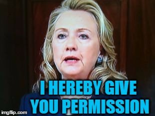 I HEREBY GIVE YOU PERMISSION | image tagged in hillary | made w/ Imgflip meme maker