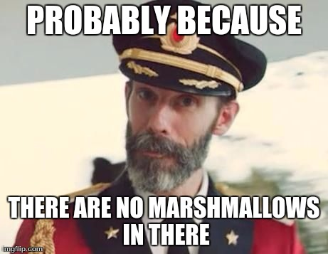 PROBABLY BECAUSE THERE ARE NO MARSHMALLOWS IN THERE | made w/ Imgflip meme maker