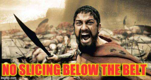 Sparta Leonidas Meme | NO SLICING BELOW THE BELT | image tagged in memes,sparta leonidas | made w/ Imgflip meme maker