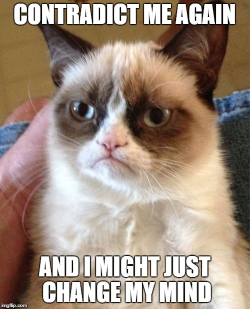 Grumpy Cat Meme | CONTRADICT ME AGAIN AND I MIGHT JUST CHANGE MY MIND | image tagged in memes,grumpy cat | made w/ Imgflip meme maker