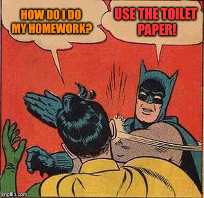Batman Slapping Robin Meme | HOW DO I DO MY HOMEWORK? USE THE TOILET PAPER! | image tagged in memes,batman slapping robin | made w/ Imgflip meme maker