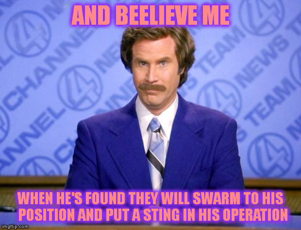AND BEELIEVE ME WHEN HE'S FOUND THEY WILL SWARM TO HIS  POSITION AND PUT A STING IN HIS OPERATION | made w/ Imgflip meme maker