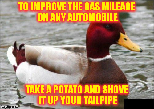 Malicious Advice Mallard Meme | TO IMPROVE THE GAS MILEAGE ON ANY AUTOMOBILE TAKE A POTATO AND SHOVE IT UP YOUR TAILPIPE | image tagged in memes,malicious advice mallard | made w/ Imgflip meme maker
