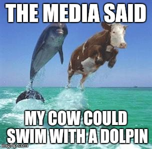 THE MEDIA SAID MY COW COULD SWIM WITH A DOLPIN | made w/ Imgflip meme maker