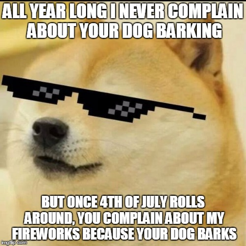 Sunglass Doge | ALL YEAR LONG I NEVER COMPLAIN ABOUT YOUR DOG BARKING BUT ONCE 4TH OF JULY ROLLS AROUND, YOU COMPLAIN ABOUT MY FIREWORKS BECAUSE YOUR DOG BA | image tagged in sunglass doge | made w/ Imgflip meme maker
