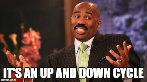 Steve Harvey Meme | IT'S AN UP AND DOWN CYCLE | image tagged in memes,steve harvey | made w/ Imgflip meme maker