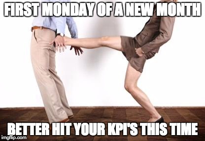 Kicked | FIRST MONDAY OF A NEW MONTH BETTER HIT YOUR KPI'S THIS TIME | image tagged in kicked | made w/ Imgflip meme maker