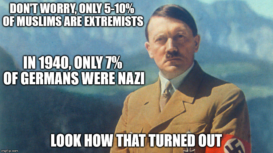 Extremists | DON'T WORRY, ONLY 5-10% OF MUSLIMS ARE EXTREMISTS IN 1940, ONLY 7% OF GERMANS WERE NAZI LOOK HOW THAT TURNED OUT | image tagged in isis extremists,memes,funny memes,political,facts,funny | made w/ Imgflip meme maker