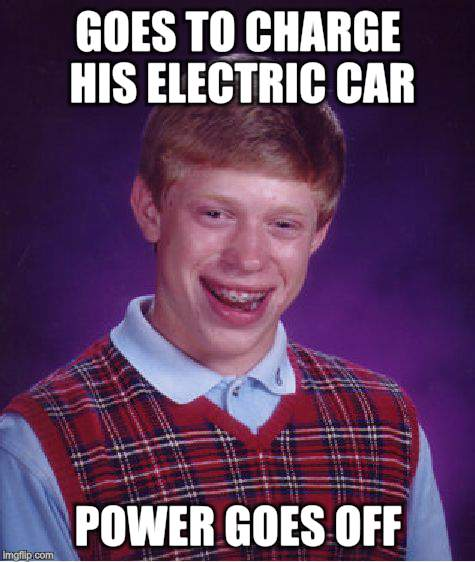 Bad Luck Brian Meme | GOES TO CHARGE HIS ELECTRIC CAR POWER GOES OFF | image tagged in memes,bad luck brian | made w/ Imgflip meme maker
