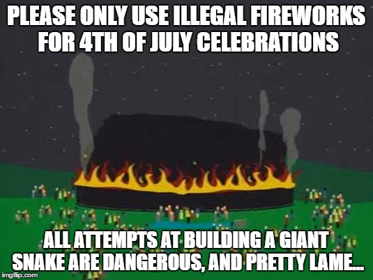 PLEASE ONLY USE ILLEGAL FIREWORKS FOR 4TH OF JULY CELEBRATIONS ALL ATTEMPTS AT BUILDING A GIANT SNAKE ARE DANGEROUS, AND PRETTY LAME... | image tagged in southpark | made w/ Imgflip meme maker