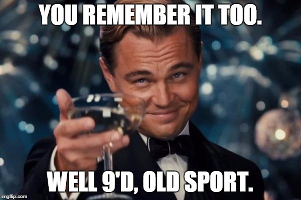 Leonardo Dicaprio Cheers Meme | YOU REMEMBER IT TOO. WELL 9'D, OLD SPORT. | image tagged in memes,leonardo dicaprio cheers | made w/ Imgflip meme maker