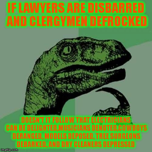 Philosoraptor Meme | IF LAWYERS ARE DISBARRED AND CLERGYMEN DEFROCKED DOESN'T IT FOLLOW THAT ELECTRICIANS CAN BE DELIGHTED,MUSICIANS DENOTED,COWBOYS DERANGED, MO | image tagged in memes,philosoraptor | made w/ Imgflip meme maker