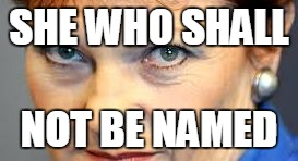 She who shall not be named  | SHE WHO SHALL NOT BE NAMED | image tagged in pauline hanson,one nation,voldermort,australian election,anti-racism,the scottish play | made w/ Imgflip meme maker