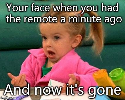 I don't know (Good Luck Charlie) | Your face when you had the remote a minute ago And now it's gone | image tagged in i don't know good luck charlie | made w/ Imgflip meme maker