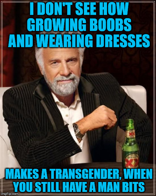 The Most Interesting Man In The World Meme | I DON'T SEE HOW GROWING BOOBS AND WEARING DRESSES MAKES A TRANSGENDER, WHEN YOU STILL HAVE A MAN BITS | image tagged in memes,the most interesting man in the world | made w/ Imgflip meme maker