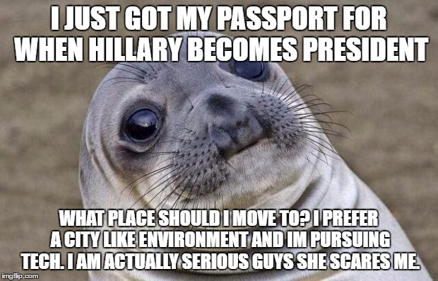 Awkward Moment Sealion Meme | I JUST GOT MY PASSPORT FOR WHEN HILLARY BECOMES PRESIDENT WHAT PLACE SHOULD I MOVE TO? I PREFER A CITY LIKE ENVIRONMENT AND IM PURSUING TECH | image tagged in memes,awkward moment sealion | made w/ Imgflip meme maker