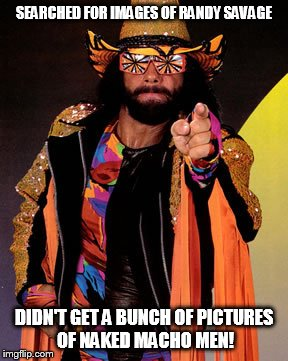 No naked dudes |  SEARCHED FOR IMAGES OF RANDY SAVAGE; DIDN'T GET A BUNCH OF PICTURES OF NAKED MACHO MEN! | image tagged in pro wrestling,pointing,pointing at you,macho man,randy savage | made w/ Imgflip meme maker