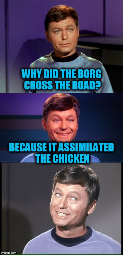 bad pun McCoy | WHY DID THE BORG CROSS THE ROAD? BECAUSE IT ASSIMILATED THE CHICKEN | image tagged in bad pun mccoy,startrek,funny meme,jokes,why the chicken cross the road,borg | made w/ Imgflip meme maker