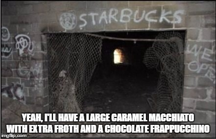 Seems Legit (inspired partly by Evilmandoevil) |  YEAH, I'LL HAVE A LARGE CARAMEL MACCHIATO WITH EXTRA FROTH AND A CHOCOLATE FRAPPUCCHINO | image tagged in starbucks,seems legit,evilmandoevil,olympianproduct | made w/ Imgflip meme maker