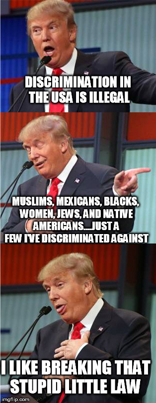 Bad Pun Trump |  DISCRIMINATION IN THE USA IS ILLEGAL; MUSLIMS, MEXICANS, BLACKS, WOMEN, JEWS, AND NATIVE AMERICANS....JUST A FEW I'VE DISCRIMINATED AGAINST; I LIKE BREAKING THAT STUPID LITTLE LAW | image tagged in bad pun trump,discrimination,law,illegal,nevertrump,dump trump | made w/ Imgflip meme maker