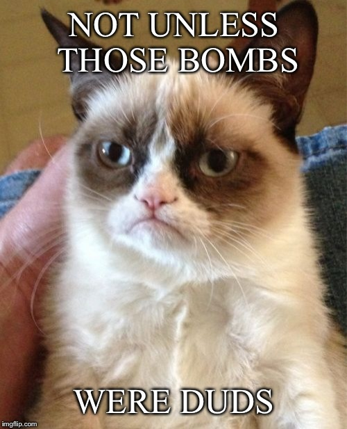 Grumpy Cat Meme | NOT UNLESS THOSE BOMBS WERE DUDS | image tagged in memes,grumpy cat | made w/ Imgflip meme maker