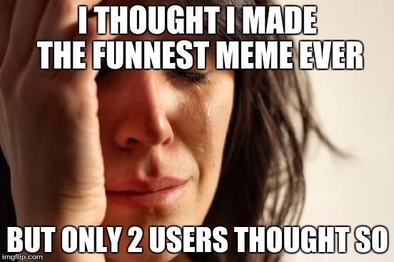 First World Problems Meme | I THOUGHT I MADE THE FUNNEST MEME EVER BUT ONLY 2 USERS THOUGHT SO | image tagged in memes,first world problems | made w/ Imgflip meme maker