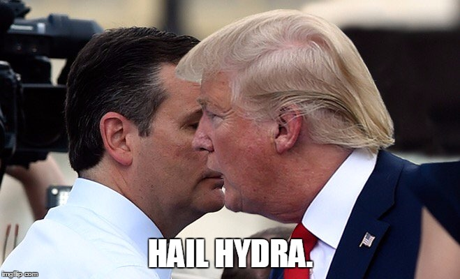Hydra Trump | HAIL HYDRA. | image tagged in trump,hail hydra | made w/ Imgflip meme maker