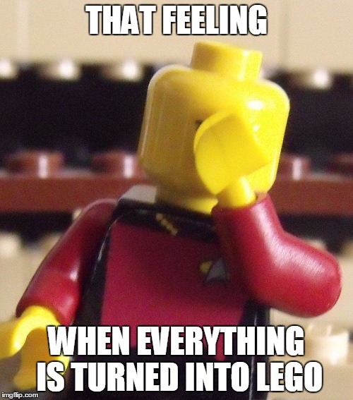 I saw this template and I couldn't resist | THAT FEELING WHEN EVERYTHING IS TURNED INTO LEGO | image tagged in lego captain picard facepalm,lego,captain picard facepalm,facepalm,legos | made w/ Imgflip meme maker