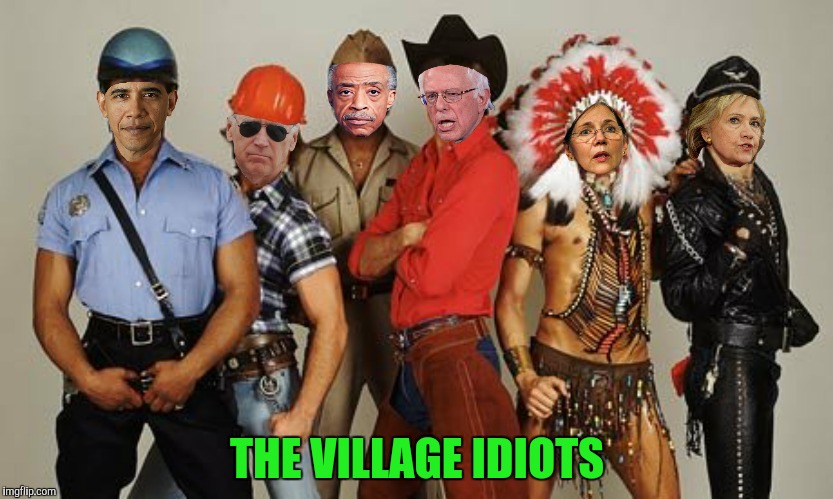 It's fun for YOU to stay at The Y.M.C.A. | THE VILLAGE IDIOTS | image tagged in barack obama,joe biden,village people,al sharpton,elizabeth warren,bernie sanders | made w/ Imgflip meme maker