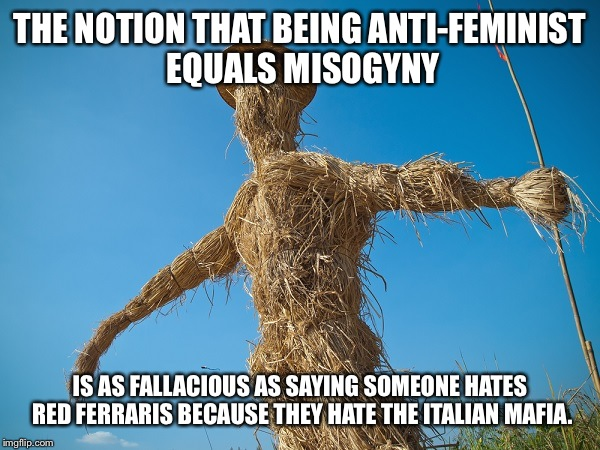 Strawman | THE NOTION THAT BEING ANTI-FEMINIST EQUALS MISOGYNY IS AS FALLACIOUS AS SAYING SOMEONE HATES RED FERRARIS BECAUSE THEY HATE THE ITALIAN MAFI | image tagged in strawman | made w/ Imgflip meme maker