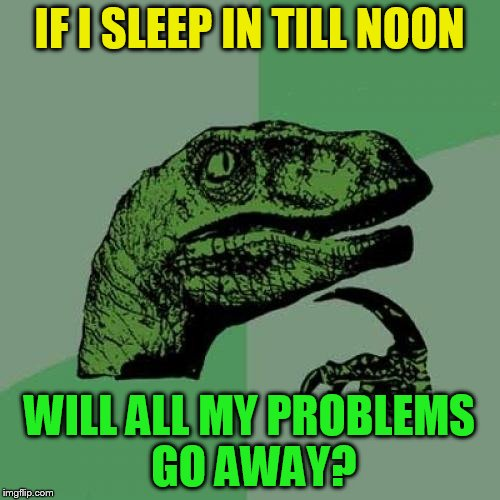 Philosoraptor Meme | IF I SLEEP IN TILL NOON WILL ALL MY PROBLEMS GO AWAY? | image tagged in memes,philosoraptor | made w/ Imgflip meme maker