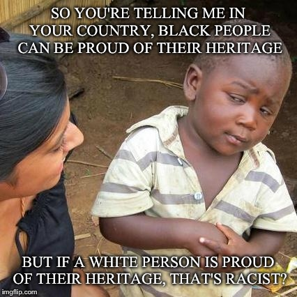 Third World Skeptical Kid Meme | SO YOU'RE TELLING ME IN YOUR COUNTRY, BLACK PEOPLE CAN BE PROUD OF THEIR HERITAGE BUT IF A WHITE PERSON IS PROUD OF THEIR HERITAGE, THAT'S R | image tagged in memes,third world skeptical kid | made w/ Imgflip meme maker
