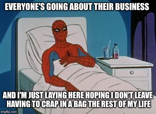 171gwr spiderman hospitalized for crohns again imgflip,Crohns Meme