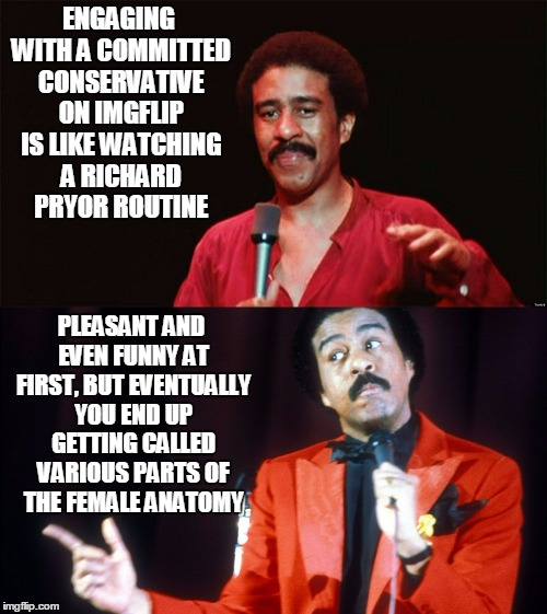 committed conservative #8: not really intellectual Bill Hicks types | ENGAGING WITH A COMMITTED CONSERVATIVE ON IMGFLIP IS LIKE WATCHING A RICHARD PRYOR ROUTINE PLEASANT AND EVEN FUNNY AT FIRST, BUT EVENTUALLY  | image tagged in conservative,liberal vs conservative,politics | made w/ Imgflip meme maker