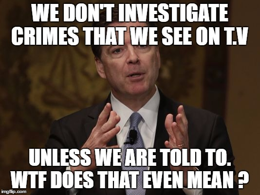 FBI Director  |  WE DON'T INVESTIGATE CRIMES THAT WE SEE ON T.V; UNLESS WE ARE TOLD TO. WTF DOES THAT EVEN MEAN ? | image tagged in fbi director | made w/ Imgflip meme maker