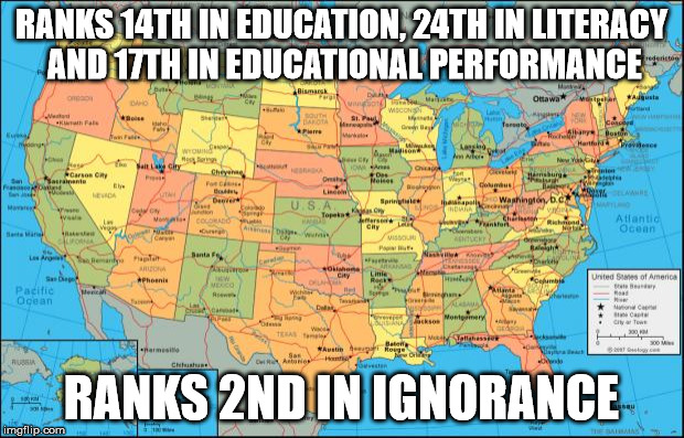 Map Of United States Ranks 14th In Education 24th In Literacy And 17th In