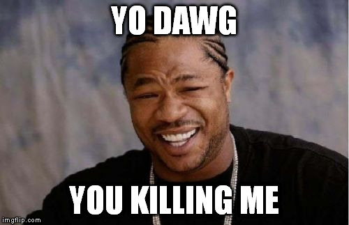 Yo Dawg Heard You Meme | YO DAWG YOU KILLING ME | image tagged in memes,yo dawg heard you | made w/ Imgflip meme maker