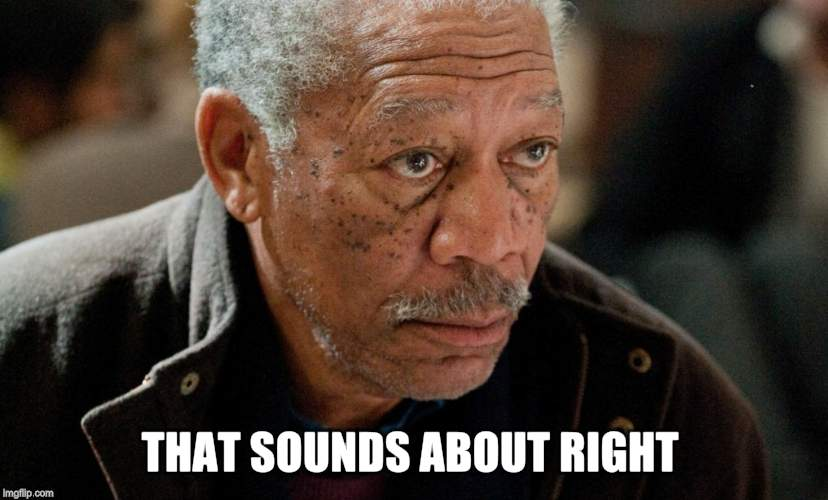 Morgan Freeman | THAT SOUNDS ABOUT RIGHT | image tagged in morgan freeman | made w/ Imgflip meme maker