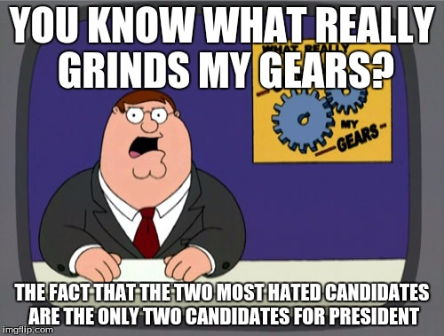 It doesn't even make sense. |  YOU KNOW WHAT REALLY GRINDS MY GEARS? THE FACT THAT THE TWO MOST HATED CANDIDATES ARE THE ONLY TWO CANDIDATES FOR PRESIDENT | image tagged in memes,peter griffin news | made w/ Imgflip meme maker