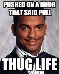Thug Life | PUSHED ON A DOOR THAT SAID PULL THUG LIFE | image tagged in thug life | made w/ Imgflip meme maker