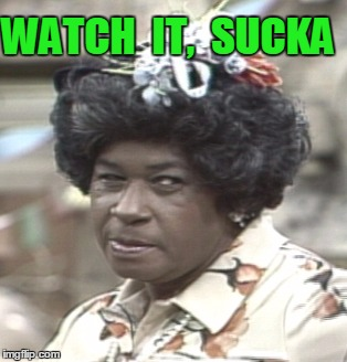 Aunt Esther | WATCH  IT,  SUCKA | image tagged in aunt esther | made w/ Imgflip meme maker