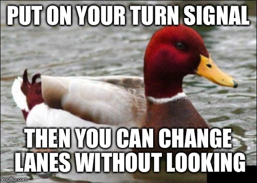 Malicious Advice Mallard Meme | PUT ON YOUR TURN SIGNAL THEN YOU CAN CHANGE LANES WITHOUT LOOKING | image tagged in memes,malicious advice mallard,AdviceAnimals | made w/ Imgflip meme maker