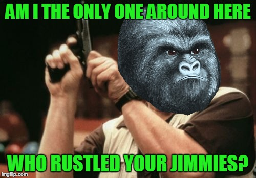Am I The Only One Around Here Meme | AM I THE ONLY ONE AROUND HERE WHO RUSTLED YOUR JIMMIES? | image tagged in memes,am i the only one around here,rustle my jimmies,funny,gorilla | made w/ Imgflip meme maker
