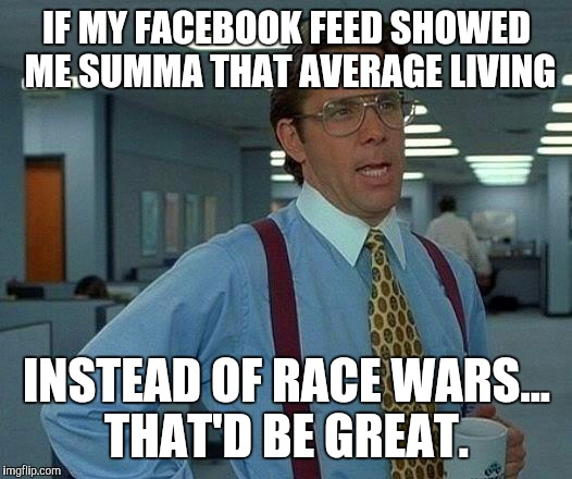 Yeeeaaahhhhhhh |  IF MY FACEBOOK FEED SHOWED ME SUMMA THAT AVERAGE LIVING; INSTEAD OF RACE WARS... THAT'D BE GREAT. | image tagged in memes,that would be great,race,stop it,no really,shut up | made w/ Imgflip meme maker