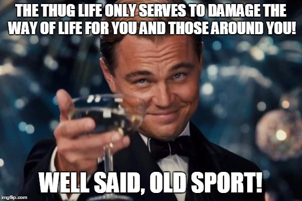 Leonardo Dicaprio Cheers Meme | THE THUG LIFE ONLY SERVES TO DAMAGE THE WAY OF LIFE FOR YOU AND THOSE AROUND YOU! WELL SAID, OLD SPORT! | image tagged in memes,leonardo dicaprio cheers | made w/ Imgflip meme maker