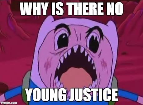 Finn The Human | WHY IS THERE NO YOUNG JUSTICE | image tagged in memes,finn the human | made w/ Imgflip meme maker