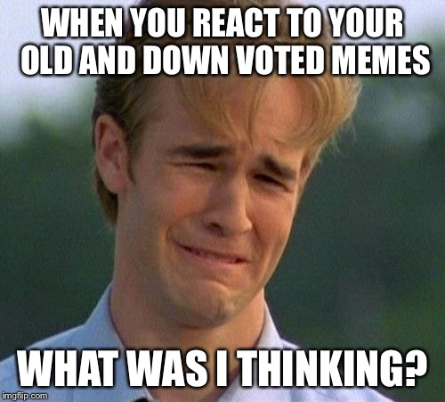 1990s First World Problems Meme | WHEN YOU REACT TO YOUR OLD AND DOWN VOTED MEMES WHAT WAS I THINKING? | image tagged in memes,1990s first world problems | made w/ Imgflip meme maker