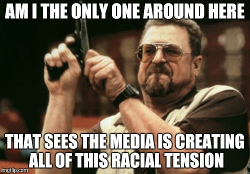 Am I The Only One Around Here Meme | AM I THE ONLY ONE AROUND HERE THAT SEES THE MEDIA IS CREATING ALL OF THIS RACIAL TENSION | image tagged in memes,am i the only one around here | made w/ Imgflip meme maker
