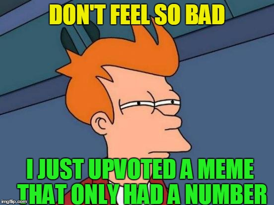Futurama Fry Meme | DON'T FEEL SO BAD I JUST UPVOTED A MEME THAT ONLY HAD A NUMBER | image tagged in memes,futurama fry | made w/ Imgflip meme maker